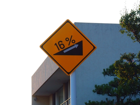traffic signs 16% steep slope Stock Photo