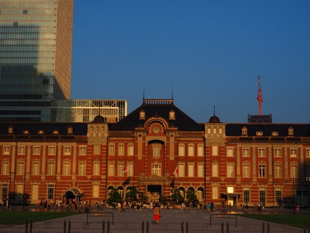 Tokyo Station in sunset