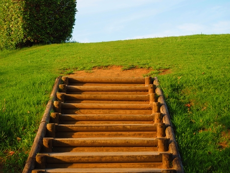 wooden steps over clear sky