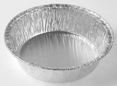 silver foil: Baking foil plate isolated on white