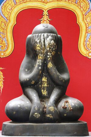 Thai giant amulet called Phra pidta mean closed eyes buddha