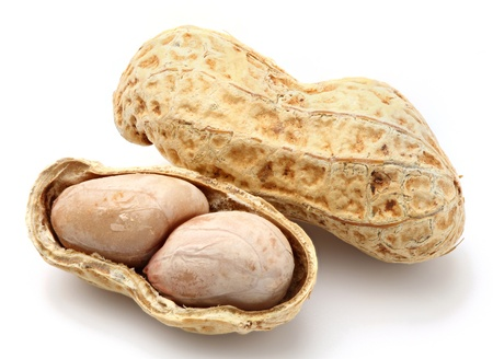 Baked Thai peanut (ground nut) isolated on white photo