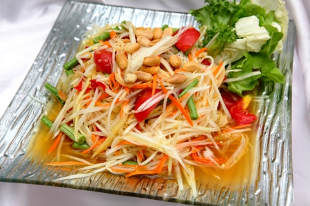 Thai papaya salad serve with vegetables Stock Photo - 16309413