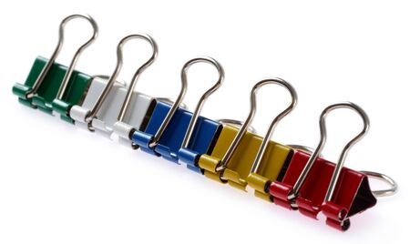 Colored binder clips isolated on white Stock Photo - 16309388
