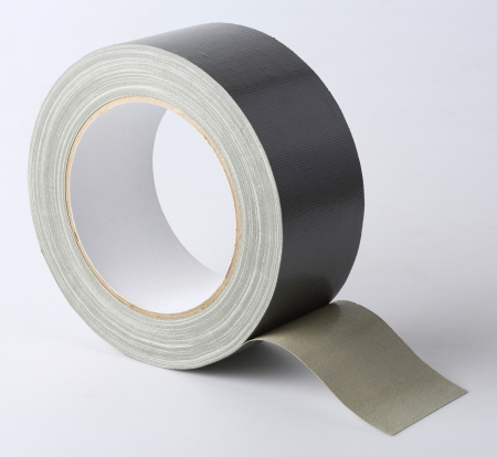 Silver color cloth tape (Duct Tape) isolated on white photo