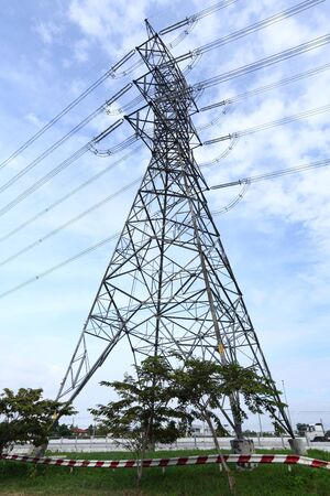 High voltage electricity tower and blue sky Stock Photo - 16309580