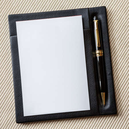Elegance Note Paper on leathery holder Stock Photo - 16723636