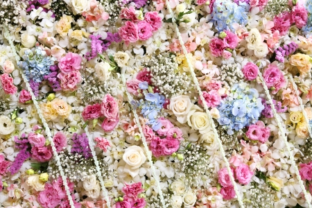 Flower panel backdrop decoration for wedding ceremony photo