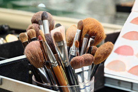 Group of Makeup artist brushes photo