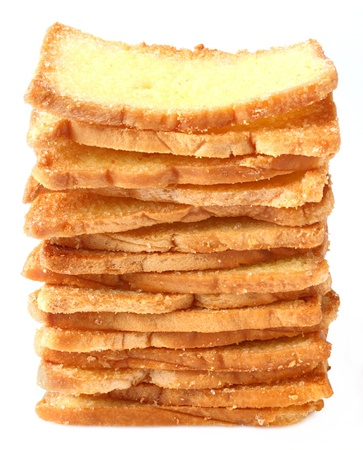 Thai crispy garlic bread stacks isolated on white  Stock Photo - 16829349