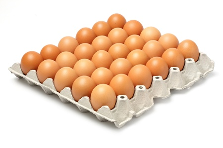 Eggs in paper tray isolated on white photo