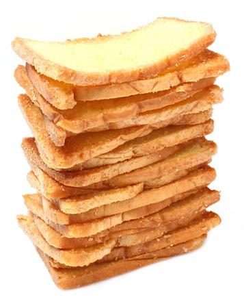 Thai crispy garlic bread stacks isolated on white Stock Photo - 16829344