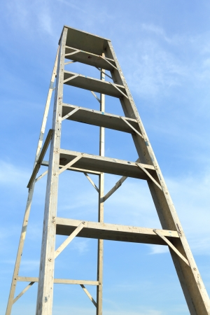 Ladder in blue sky mean the way to top photo
