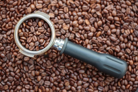 robusta: Coffee beans in Portafilters isolated on coffee beans background