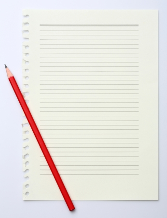 Green read note paper with thin line and red pencil Stock Photo - 17304438
