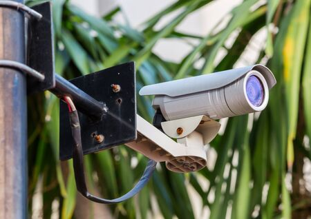 White CCTV camera watching for security 24 hours Stock Photo - 17304524