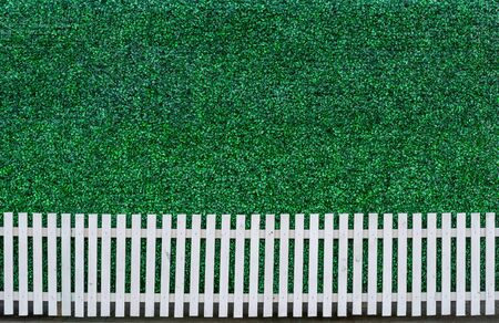 White wooden fence and green leaf background Stock Photo - 17568393