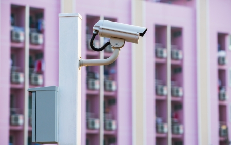 White CCTV camera watching for security 24 hours Stock Photo - 17568465