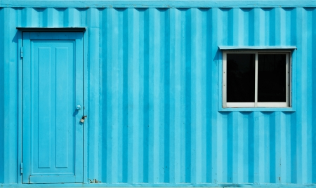 Blue color container office with door and window Stock Photo - 17921061