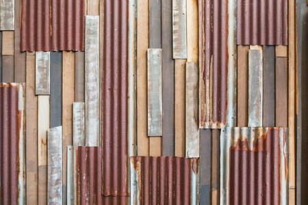 Grunge old wood and rusty roofing sheet wall background Stock Photo - 17921130