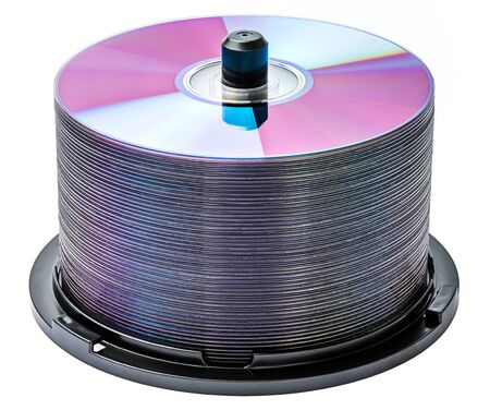 cd r: DVD disc stack isolated on white Stock Photo
