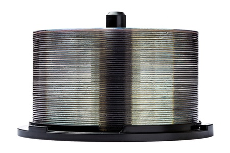 dvdr: DVD disc stack isolated on white Stock Photo
