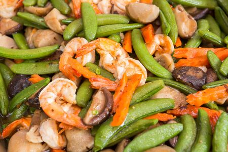 Stir fried shrimp with string bean and mushroom Stock Photo - 17921362