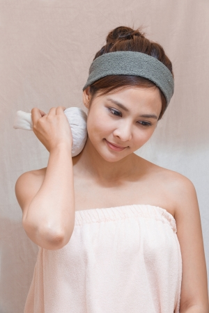 towel head: Herbal compress ball massage in Thai spa