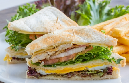Big club sandwich served with french fried and vegetable Stock Photo - 18835617