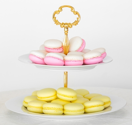 tier: French macarons on two tier serving tray Stock Photo