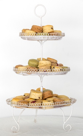 scones: Scones for elegance afternoon teatime on Three Tier Serving Tray Stock Photo