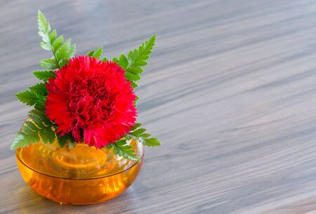 Beautiful red flower in orange vase decoration on table photo