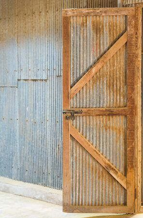 Grunge Corrugated Zinc Sheet wall and door photo