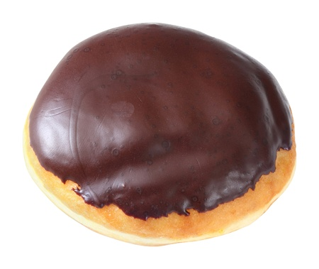 deep focus: Donut or doughnut topped by chocolate iced isolated on white - deep focus photo