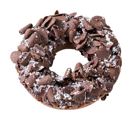 deep focus: Donut or doughnut topped by shredded chocolate isolated on white - deep focus photo