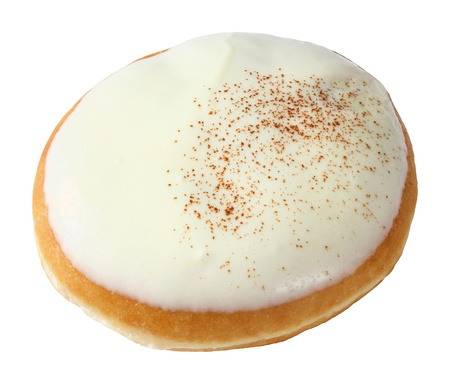 deep focus: Donut or doughnut topped by white chocolate iced isolated on white - deep focus photo