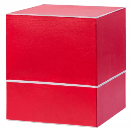 Big red gift box isolated on white background photo