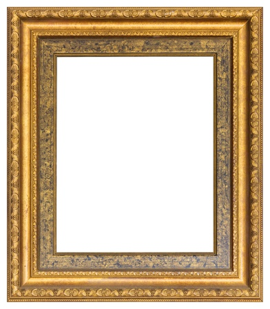 Golden color elegance and luxury wood carved photo frame isolated on white - with path photo