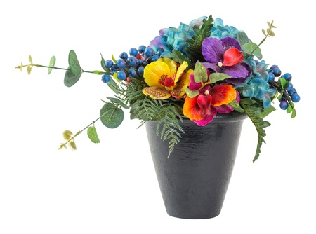 ferns and orchids: Bouquet of blue hydrangea and vanda in black clay pot - artificial flower