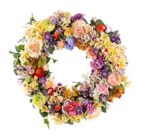 Close up Elegance flower Garland isolated on white - Artificial photo