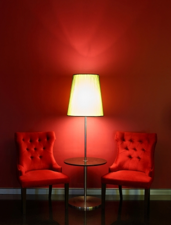Red elegance and luxury chairs with table and lamp photo