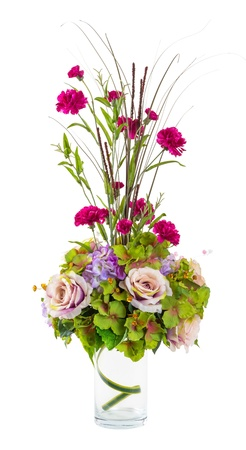 Bouquet of rose, vanda and carnation flower in glass vase isolated on white photo