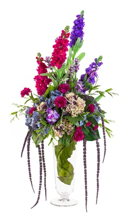 Bouquet of hydrangea, carnation, chrysanthemum and lavender flowers in glass vase isolated on white  photo