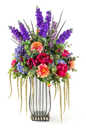Elegance bouquet of rose, hydrangea, eucalyptus, chrysanthemum and lavender flowers in glass vase isolated on white photo