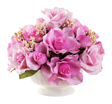 Bouquet of pink color roses in ceramic pot isolated on white photo