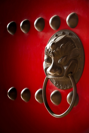 knocker: Red color chinese temple door decoration with brass bullet and handle