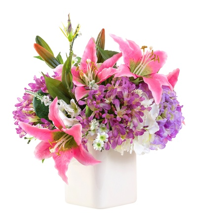 Bouquet of pink lily and hydrangea in ceramic vase isolated on white - artificial flower Stock Photo