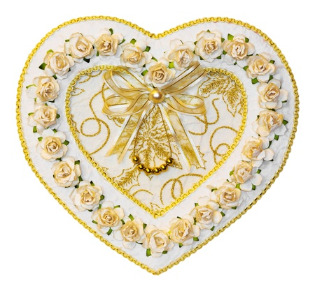 Close up heart shape decoration from paper and ribbon - with path Stock Photo - 20730519