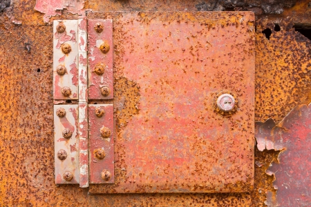 Close up red color rusted iron hinge Stock Photo - 20730488