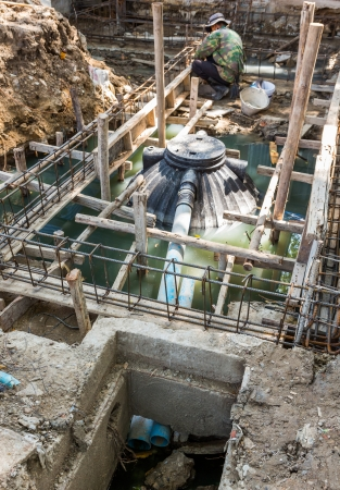 greywater: Septic tank installation at construction site Stock Photo